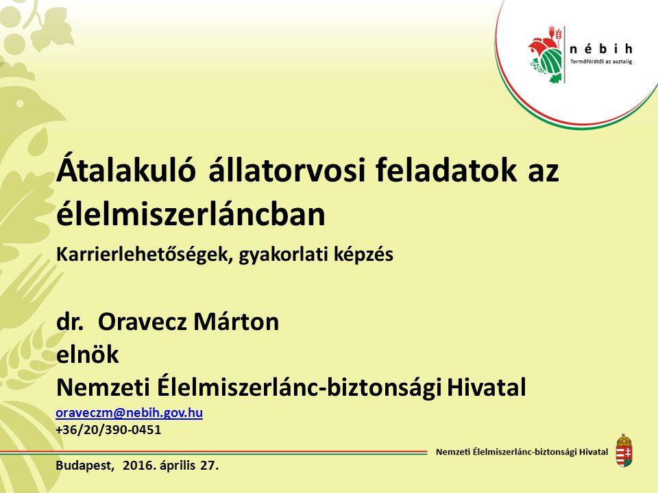Átalakuló állatorvosi feladatok az élelmiszerláncban Karrierlehetőségek, gyakorlati képzés dr. Oravecz Márton elnök Nemzeti Élelmiszerlánc-biztonsági