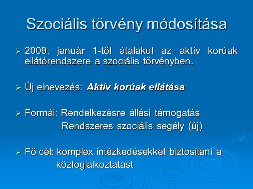 Szociális törvény módosítása A helyi önkormányzat szerveinek fő feladatai:  a rendszeres szociális segélyben részesülők jogosultságának felülvizsgálata  aktív korúak ellátása  közfoglalkoztatási terv készítése  közfoglalkoztatási feladatok megvalósítása  önkormányzati rendeletalkotás