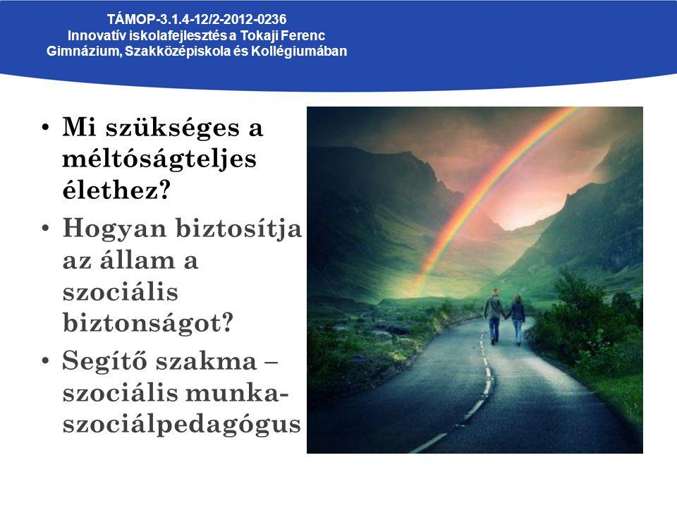 Mi szükséges a méltóságteljes élethez? Hogyan biztosítja az állam a szociális biztonságot? Segítő szakma – szociális munka- szociálpedagógus TÁMOP-3.1