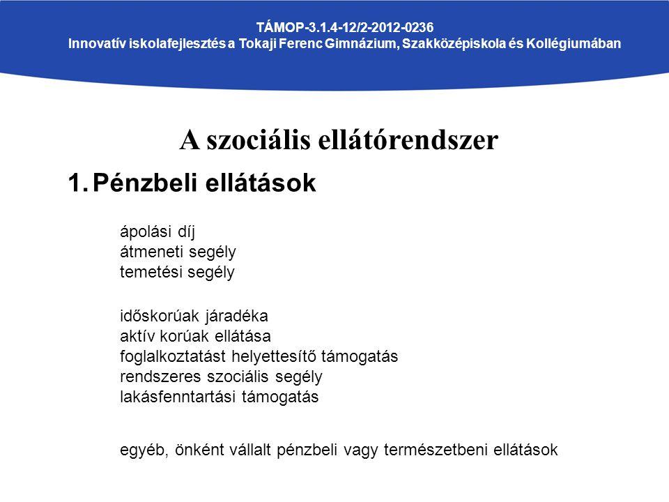 A szociális ellátórendszer TÁMOP-3.1.4-12/2-2012-0236 Innovatív iskolafejlesztés a Tokaji Ferenc Gimnázium, Szakközépiskola és Kollégiumában 1.Pénzbeli ellátások ápolási díj átmeneti segély temetési segély időskorúak járadéka aktív korúak ellátása foglalkoztatást helyettesítő támogatás rendszeres szociális segély lakásfenntartási támogatás egyéb, önként vállalt pénzbeli vagy természetbeni ellátások