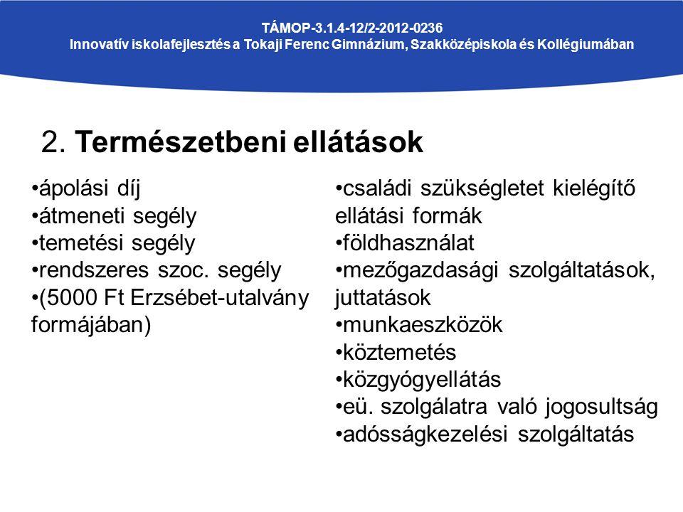 2. Természetbeni ellátások TÁMOP-3.1.4-12/2-2012-0236 Innovatív iskolafejlesztés a Tokaji Ferenc Gimnázium, Szakközépiskola és Kollégiumában ápolási d