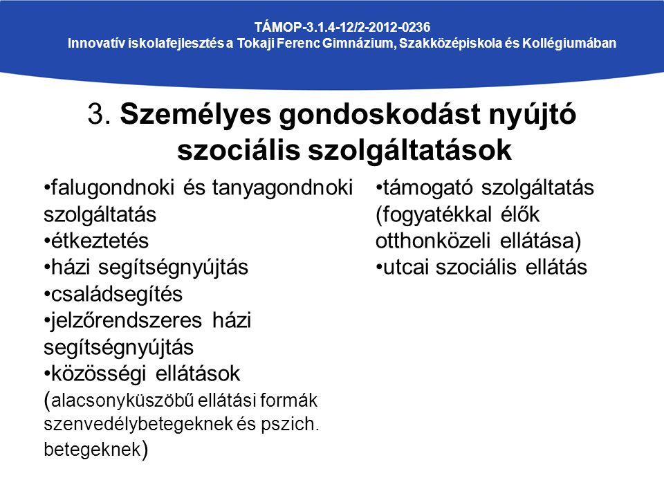 3. Személyes gondoskodást nyújtó szociális szolgáltatások TÁMOP-3.1.4-12/2-2012-0236 Innovatív iskolafejlesztés a Tokaji Ferenc Gimnázium, Szakközépis