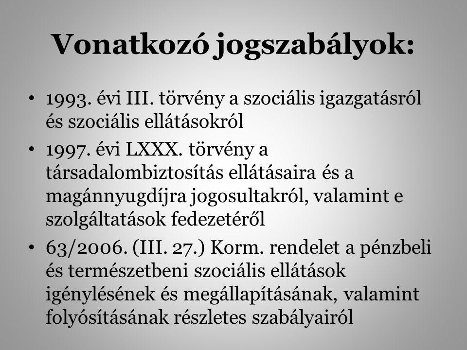 Vonatkozó jogszabályok: 1993. évi III. törvény a szociális igazgatásról és szociális ellátásokról 1997. évi LXXX. törvény a társadalombiztosítás ellát