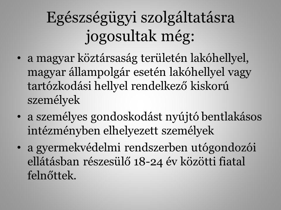 Egészségügyi szolgáltatásra jogosultak még: a magyar köztársaság területén lakóhellyel, magyar állampolgár esetén lakóhellyel vagy tartózkodási hellye