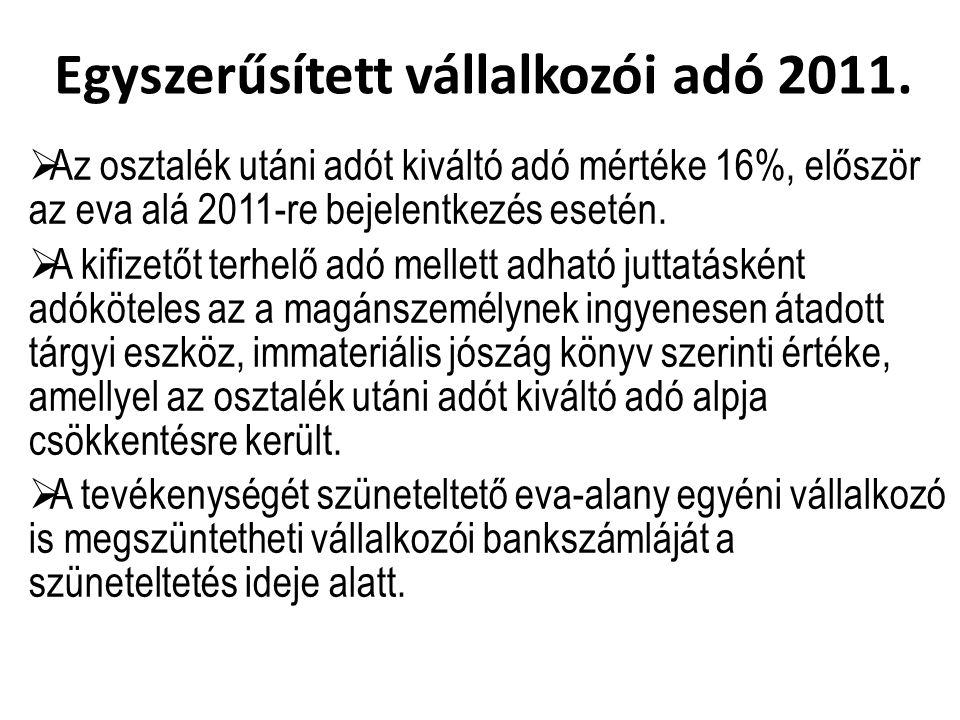 Egyszerűsített vállalkozói adó 2011.