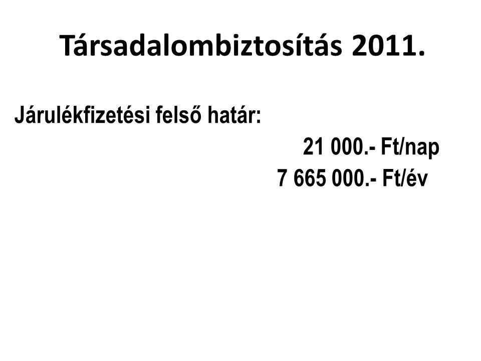 Társadalombiztosítás 2011. Járulékfizetési felső határ: 21 000.- Ft/nap 7 665 000.- Ft/év