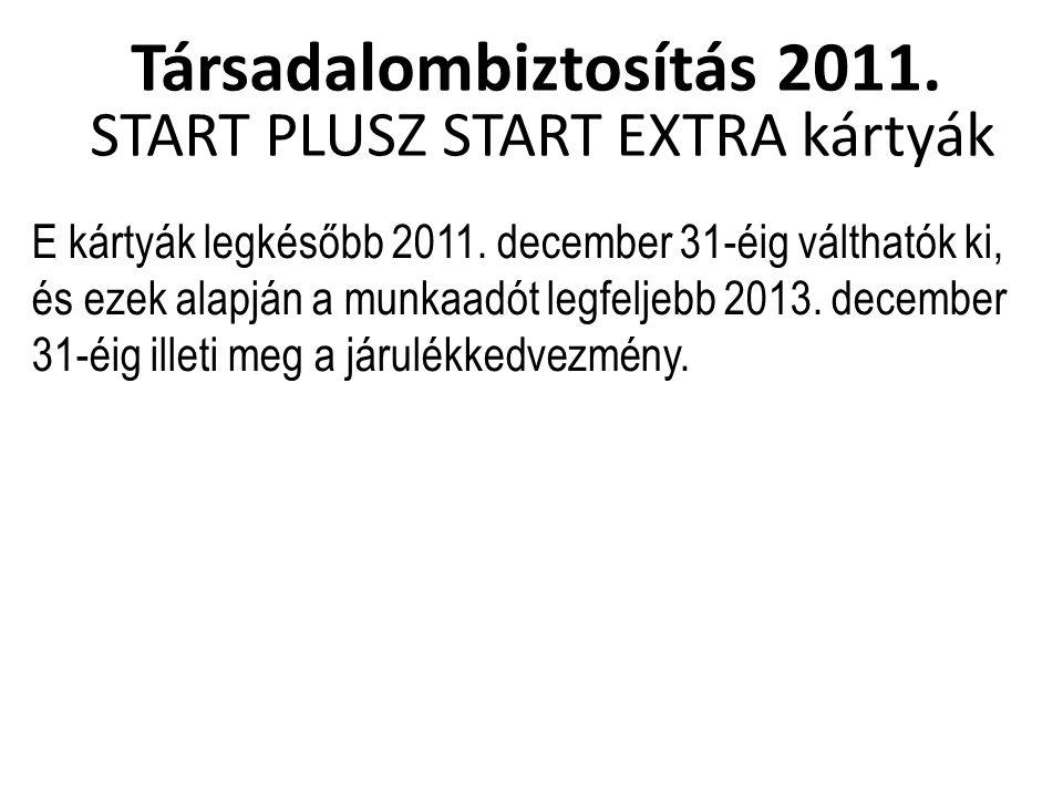 Társadalombiztosítás 2011. START PLUSZ START EXTRA kártyák E kártyák legkésőbb 2011.