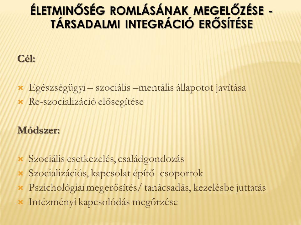Cél:  Egészségügyi – szociális –mentális állapotot javítása  Re-szocializáció elősegítéseMódszer:  Szociális esetkezelés, családgondozás  Szocializációs, kapcsolat építő csoportok  Pszichológiai megerősítés/ tanácsadás, kezelésbe juttatás  Intézményi kapcsolódás megőrzése