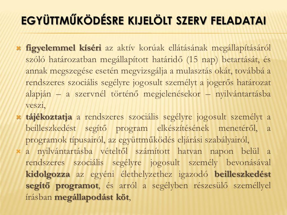 EGYÜTTMŰKÖDÉSRE KIJELÖLT SZERV FELADATAI  figyelemmel kíséri  figyelemmel kíséri az aktív korúak ellátásának megállapításáról szóló határozatban megállapított határidő (15 nap) betartását, és annak megszegése esetén megvizsgálja a mulasztás okát, továbbá a rendszeres szociális segélyre jogosult személyt a jogerős határozat alapján – a szervnél történő megjelenésekor – nyilvántartásba veszi,  tájékoztatja  tájékoztatja a rendszeres szociális segélyre jogosult személyt a beilleszkedést segítő program elkészítésének menetéről, a programok típusairól, az együttműködés eljárási szabályairól, kidolgozza beilleszkedést segítő programot megállapodást köt  a nyilvántartásba vételtől számított hatvan napon belül a rendszeres szociális segélyre jogosult személy bevonásával kidolgozza az egyéni élethelyzethez igazodó beilleszkedést segítő programot, és arról a segélyben részesülő személlyel írásban megállapodást köt,