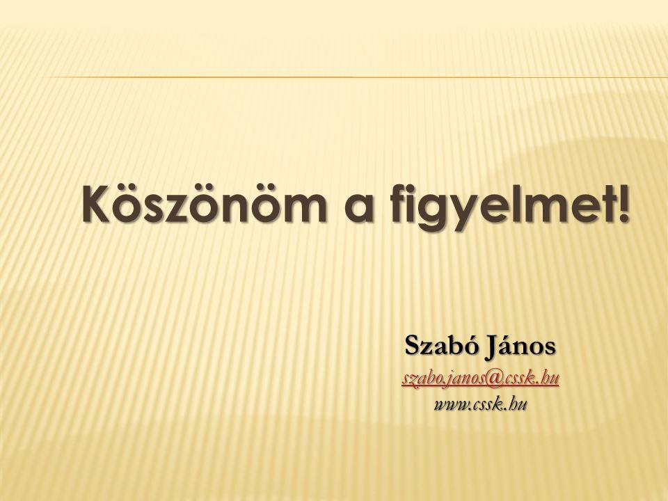 Köszönöm a figyelmet! Szabó János szabo.janos@cssk.hu www.cssk.hu