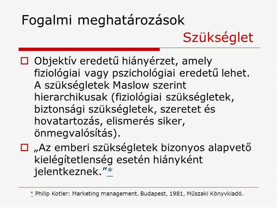 Fogalmi meghatározások  Objektív eredetű hiányérzet, amely fiziológiai vagy pszichológiai eredetű lehet.
