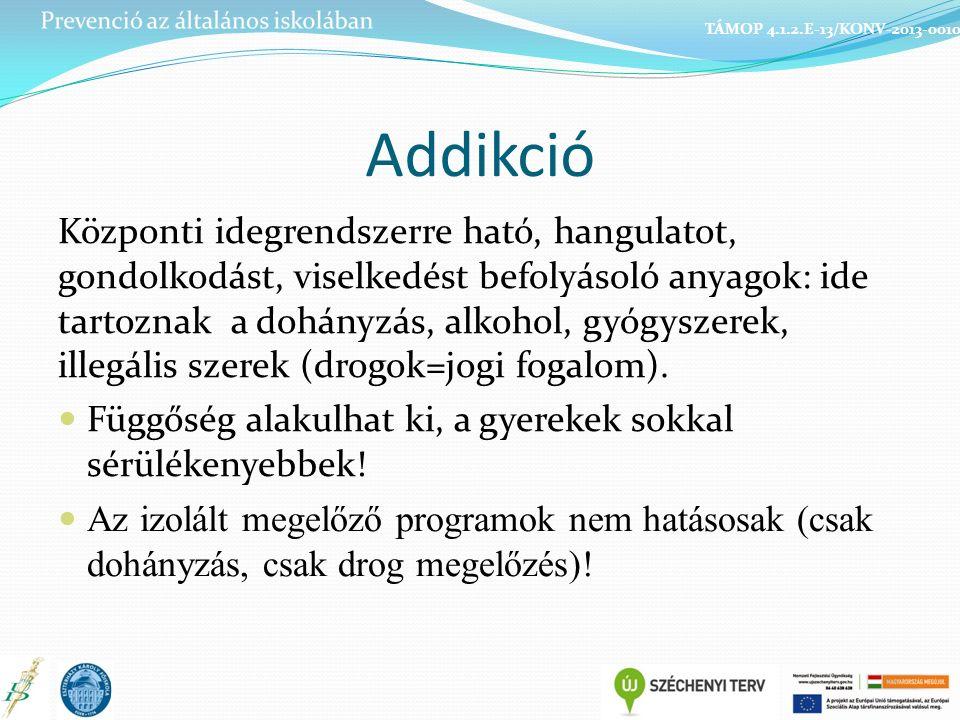 Addikció Központi idegrendszerre ható, hangulatot, gondolkodást, viselkedést befolyásoló anyagok: ide tartoznak a dohányzás, alkohol, gyógyszerek, illegális szerek (drogok=jogi fogalom).
