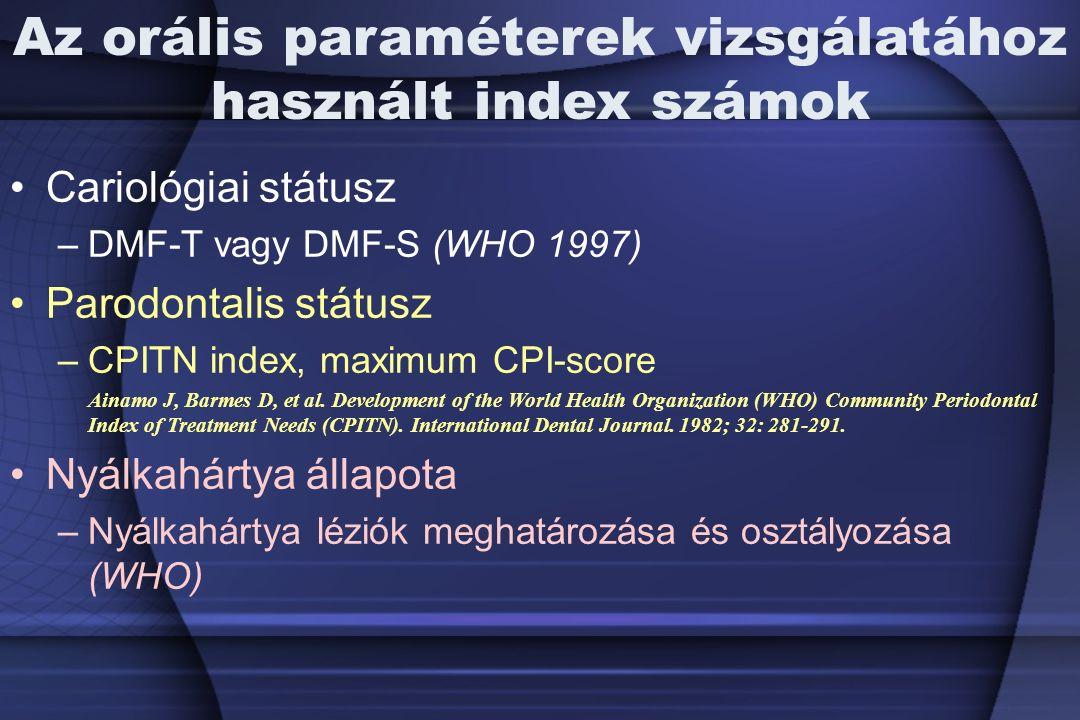 Az orális paraméterek vizsgálatához használt index számok Cariológiai státusz –DMF-T vagy DMF-S (WHO 1997) Parodontalis státusz –CPITN index, maximum CPI-score Ainamo J, Barmes D, et al.