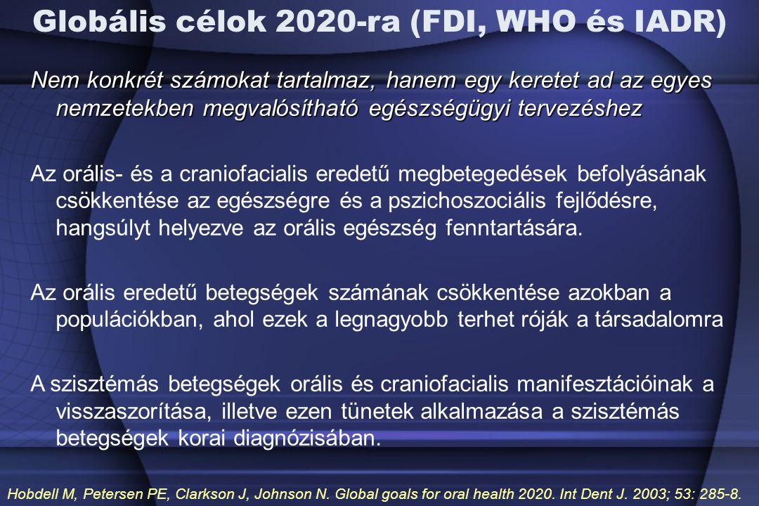 Globális célok 2020-ra (FDI, WHO és IADR) Nem konkrét számokat tartalmaz, hanem egy keretet ad az egyes nemzetekben megvalósítható egészségügyi tervezéshez Az orális- és a craniofacialis eredetű megbetegedések befolyásának csökkentése az egészségre és a pszichoszociális fejlődésre, hangsúlyt helyezve az orális egészség fenntartására.