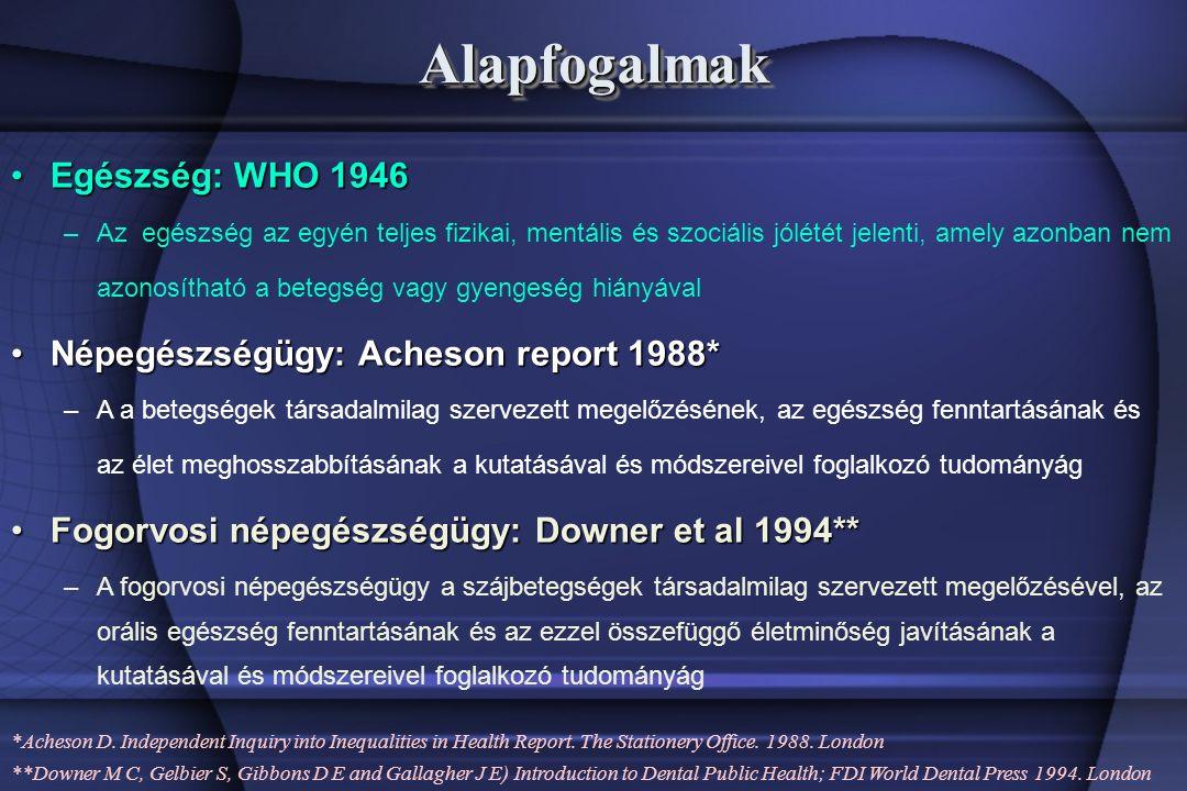 AlapfogalmakAlapfogalmak Egészség: WHO 1946Egészség: WHO 1946 –Az egészség az egyén teljes fizikai, mentális és szociális jólétét jelenti, amely azonban nem azonosítható a betegség vagy gyengeség hiányával Népegészségügy: Acheson report 1988*Népegészségügy: Acheson report 1988* –A a betegségek társadalmilag szervezett megelőzésének, az egészség fenntartásának és az élet meghosszabbításának a kutatásával és módszereivel foglalkozó tudományág Fogorvosi népegészségügy: Downer et al 1994**Fogorvosi népegészségügy: Downer et al 1994** –A fogorvosi népegészségügy a szájbetegségek társadalmilag szervezett megelőzésével, az orális egészség fenntartásának és az ezzel összefüggő életminőség javításának a kutatásával és módszereivel foglalkozó tudományág *Acheson D.