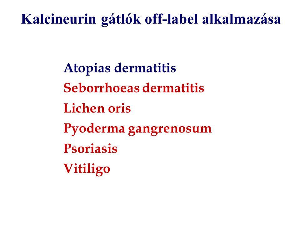 Atopias dermatitis Seborrhoeas dermatitis Lichen oris Pyoderma gangrenosum Psoriasis Vitiligo Kalcineurin gátlók off-label alkalmazása