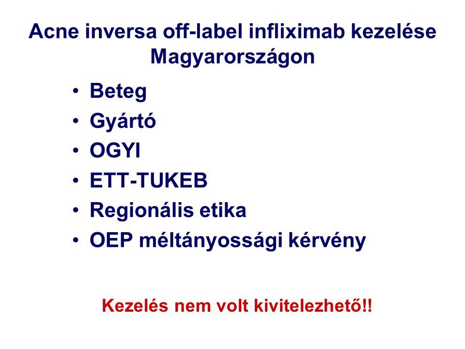 Acne inversa off-label infliximab kezelése Magyarországon Beteg Gyártó OGYI ETT-TUKEB Regionális etika OEP méltányossági kérvény Kezelés nem volt kivitelezhető!!