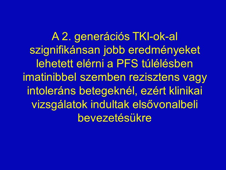 A 2. generációs TKI-ok-al szignifikánsan jobb eredményeket lehetett elérni a PFS túlélésben imatinibbel szemben rezisztens vagy intoleráns betegeknél,