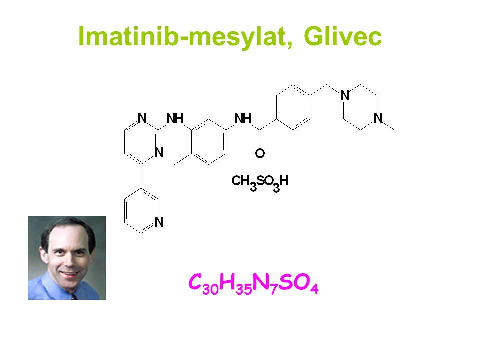 Imatinib-mesylat, Glivec Brian Druker 1996 C 30 H 35 N 7 SO 4 2-phenylaminopyrimidine MW:589,7