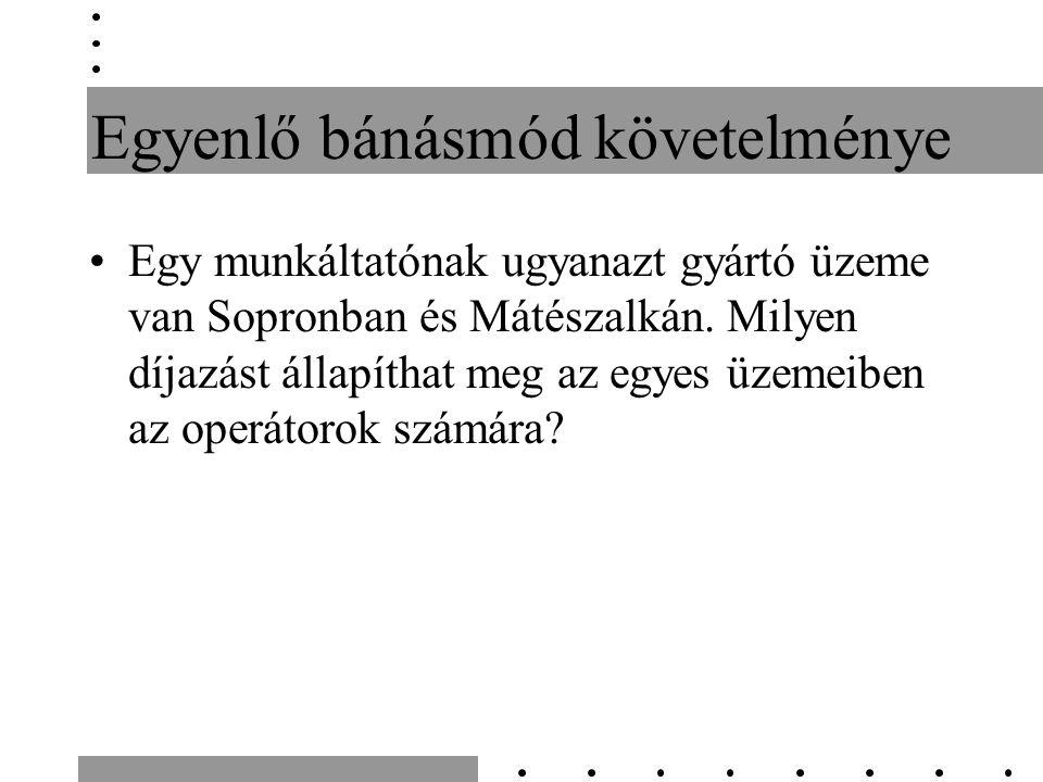 Egyenlő bánásmód követelménye Egy munkáltatónak ugyanazt gyártó üzeme van Sopronban és Mátészalkán.