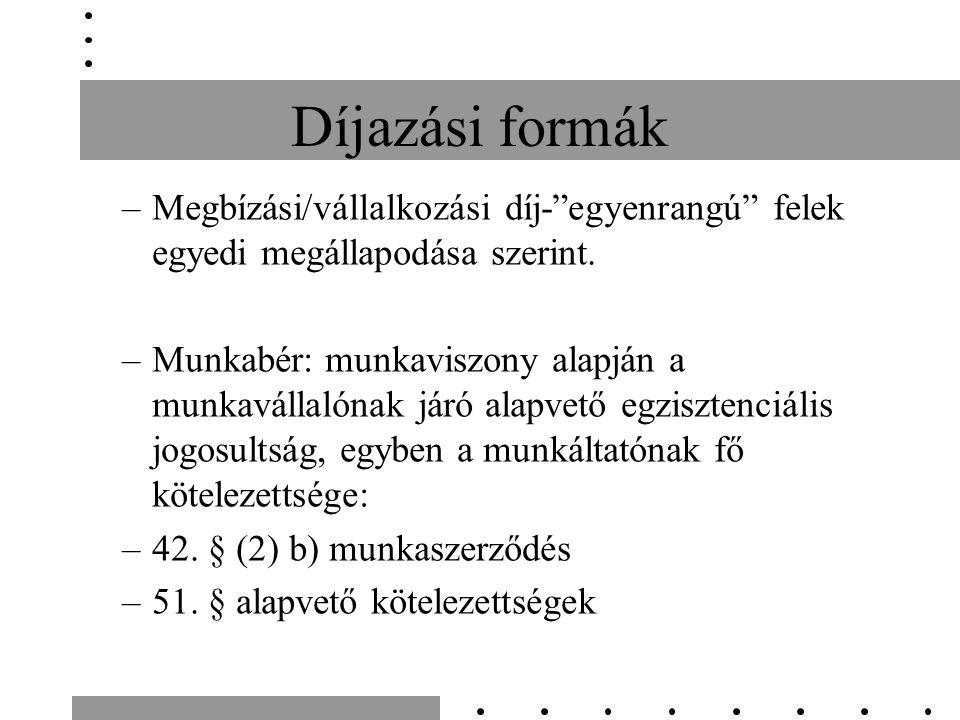 Díjazási formák –Megbízási/vállalkozási díj- egyenrangú felek egyedi megállapodása szerint.
