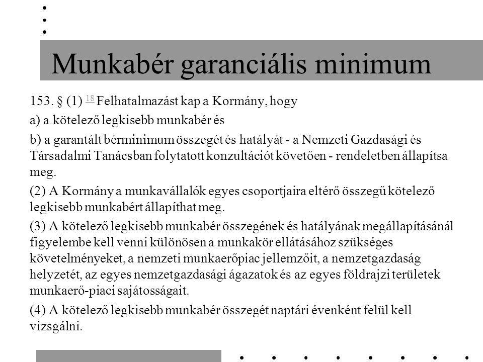 Munkabér garanciális minimum 153.