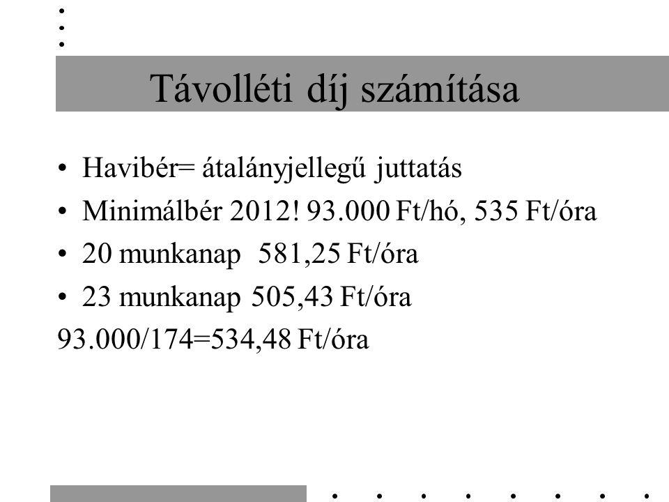 Távolléti díj számítása Havibér= átalányjellegű juttatás Minimálbér 2012.