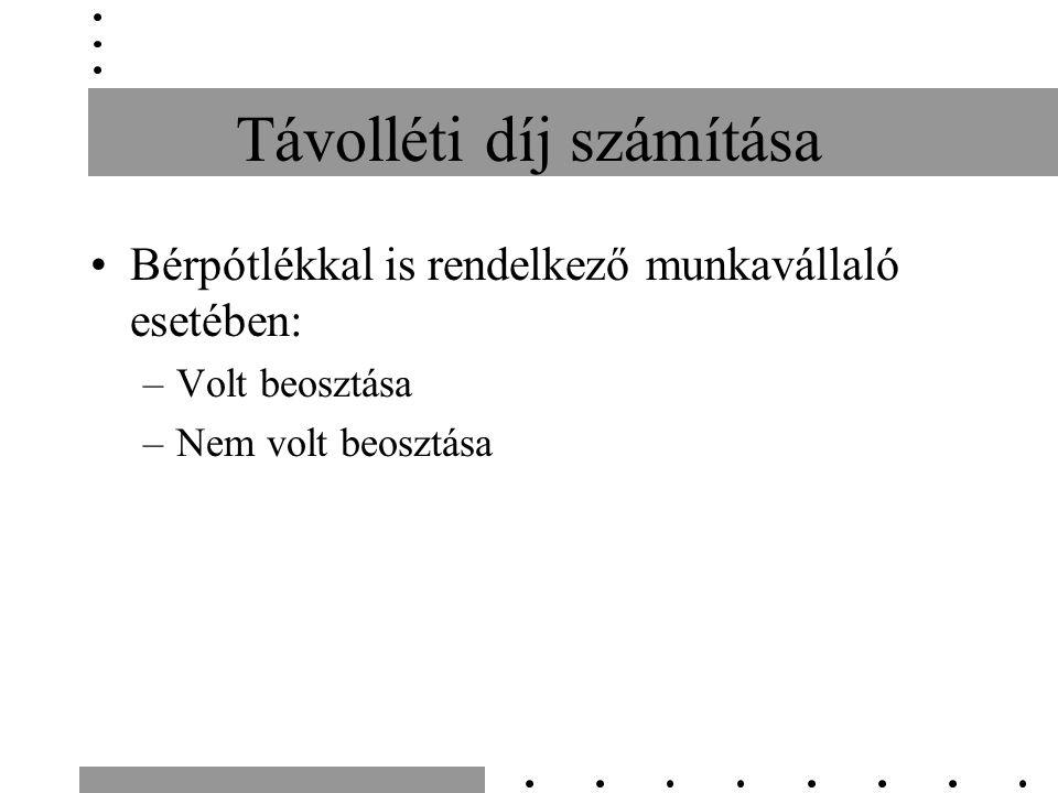 Távolléti díj számítása Bérpótlékkal is rendelkező munkavállaló esetében: –Volt beosztása –Nem volt beosztása