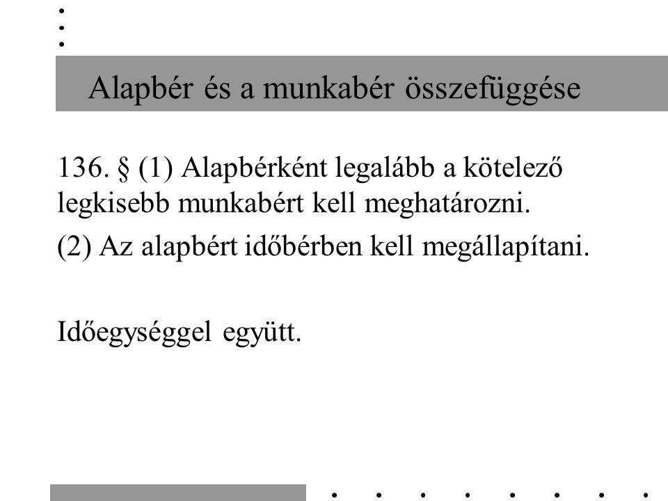 Alapbér és a munkabér összefüggése 390/2012.(XII.