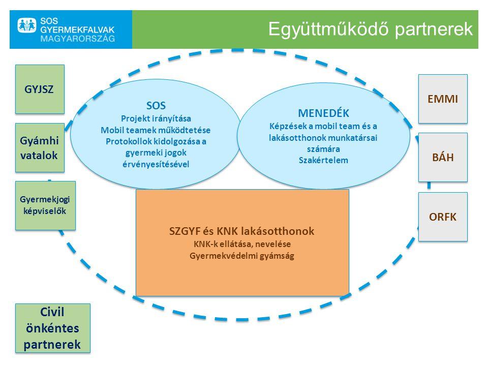 Együttműködő partnerek SOS Projekt irányítása Mobil teamek működtetése Protokollok kidolgozása a gyermeki jogok érvényesítésével SOS Projekt irányítás