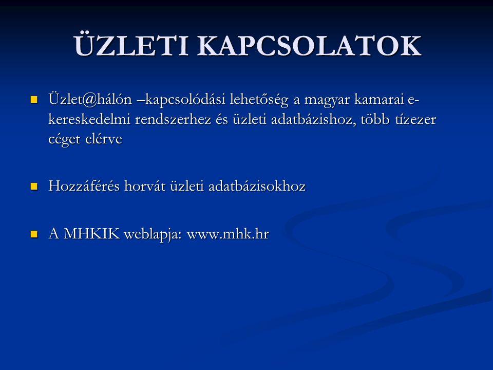 Üzlet@hálón –kapcsolódási lehetőség a magyar kamarai e- kereskedelmi rendszerhez és üzleti adatbázishoz, több tízezer céget elérve Üzlet@hálón –kapcsolódási lehetőség a magyar kamarai e- kereskedelmi rendszerhez és üzleti adatbázishoz, több tízezer céget elérve Hozzáférés horvát üzleti adatbázisokhoz Hozzáférés horvát üzleti adatbázisokhoz A MHKIK weblapja: www.mhk.hr A MHKIK weblapja: www.mhk.hr