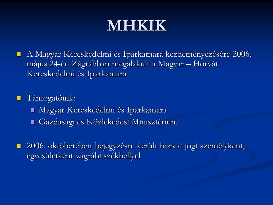 CÉLOK, FELADATOK A MHKIK célja a bilaterális gazdasági és kereskedelmi kapcsolatok fejlesztése Magyarország és Horvátország között, valamint tagjai gazdasági érdekeinek előmozdítása.