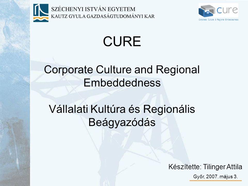 CURE Corporate Culture and Regional Embeddedness Vállalati Kultúra és Regionális Beágyazódás Készítette: Tilinger Attila Győr, 2007. május 3. Corporat