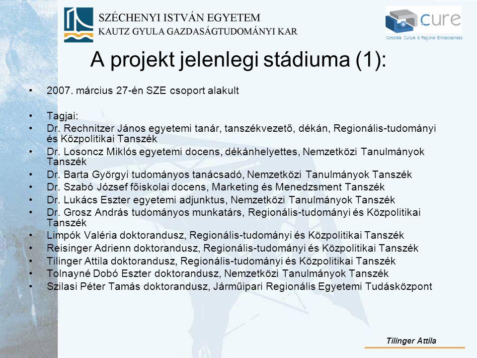 A projekt jelenlegi stádiuma (1): 2007. március 27-én SZE csoport alakult Tagjai: Dr. Rechnitzer János egyetemi tanár, tanszékvezető, dékán, Regionáli