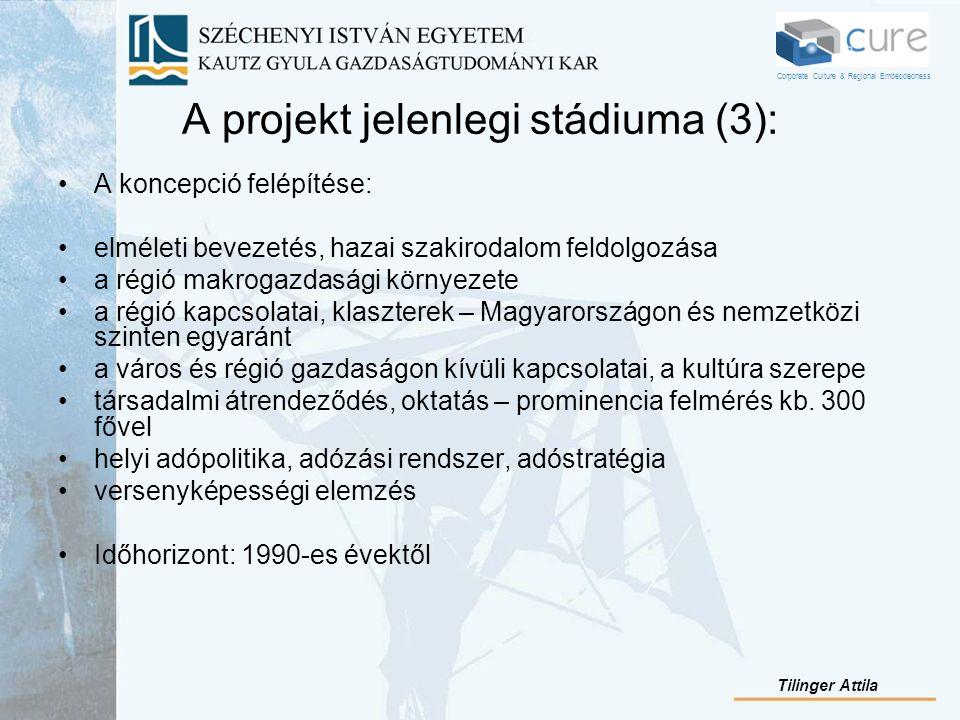 A projekt jelenlegi stádiuma (3): A koncepció felépítése: elméleti bevezetés, hazai szakirodalom feldolgozása a régió makrogazdasági környezete a régi