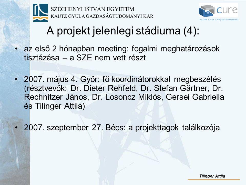 A projekt jelenlegi stádiuma (4): az első 2 hónapban meeting: fogalmi meghatározások tisztázása – a SZE nem vett részt 2007. május 4. Győr: fő koordin