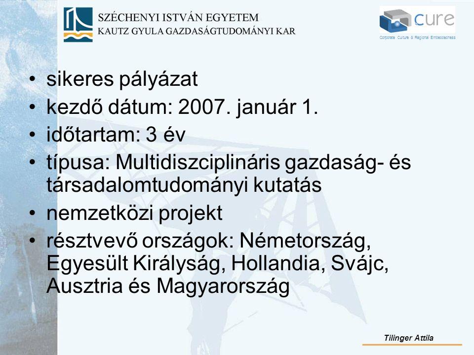 sikeres pályázat kezdő dátum: 2007. január 1. időtartam: 3 év típusa: Multidiszciplináris gazdaság- és társadalomtudományi kutatás nemzetközi projekt