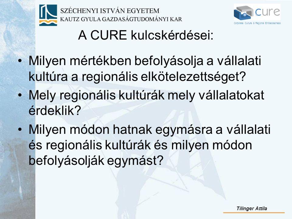 A CURE kulcskérdései: Milyen mértékben befolyásolja a vállalati kultúra a regionális elkötelezettséget? Mely regionális kultúrák mely vállalatokat érd