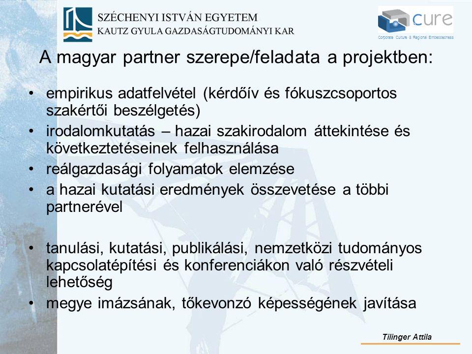A magyar partner szerepe/feladata a projektben: empirikus adatfelvétel (kérdőív és fókuszcsoportos szakértői beszélgetés) irodalomkutatás – hazai szak