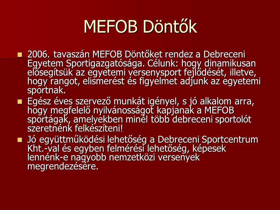MEFOB Döntők 2006. tavaszán MEFOB Döntőket rendez a Debreceni Egyetem Sportigazgatósága.