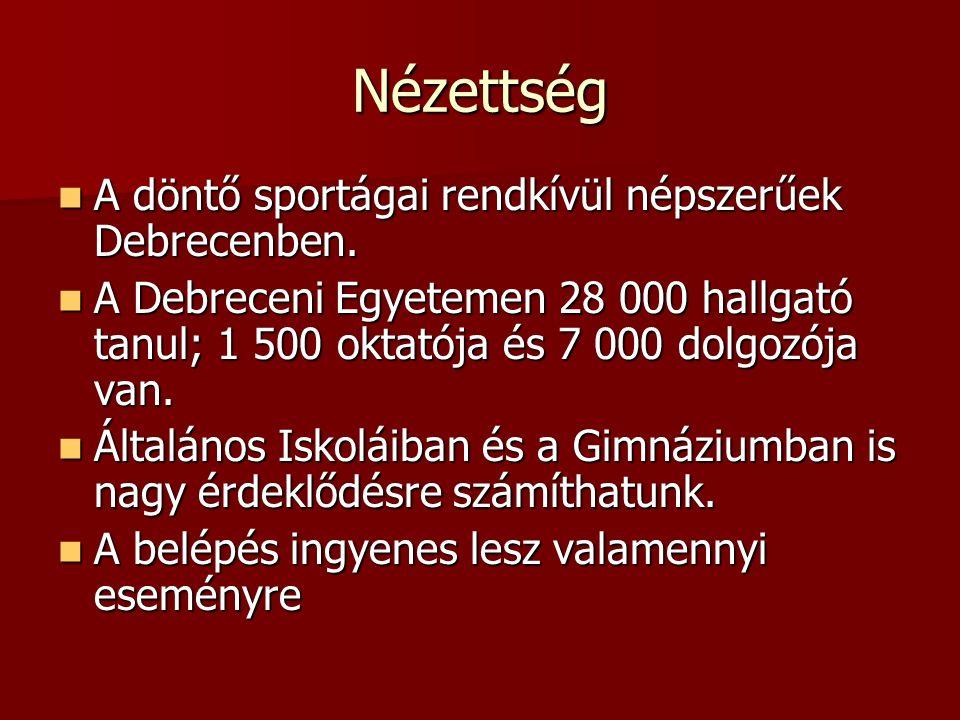 Nézettség A döntő sportágai rendkívül népszerűek Debrecenben.
