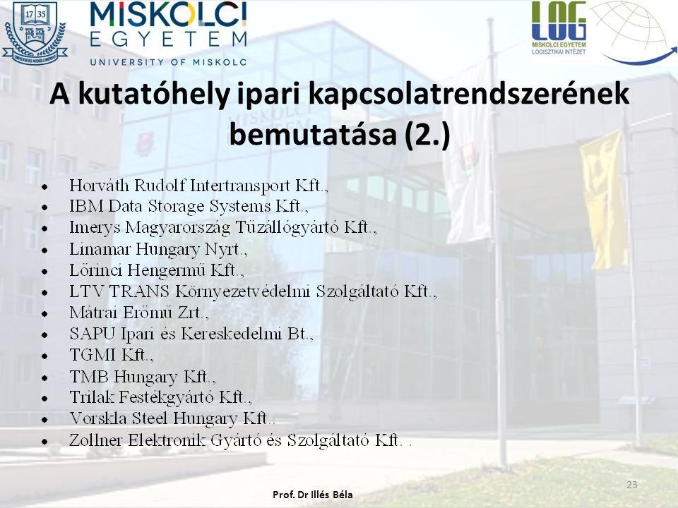 A kutatóhely ipari kapcsolatrendszerének bemutatása (2.) 23 Prof. Dr Illés Béla