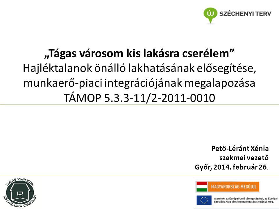 """""""Tágas városom kis lakásra cserélem Hajléktalanok önálló lakhatásának elősegítése, munkaerő-piaci integrációjának megalapozása TÁMOP 5.3.3-11/2-2011-0010 Pető-Léránt Xénia szakmai vezető Győr, 2014."""