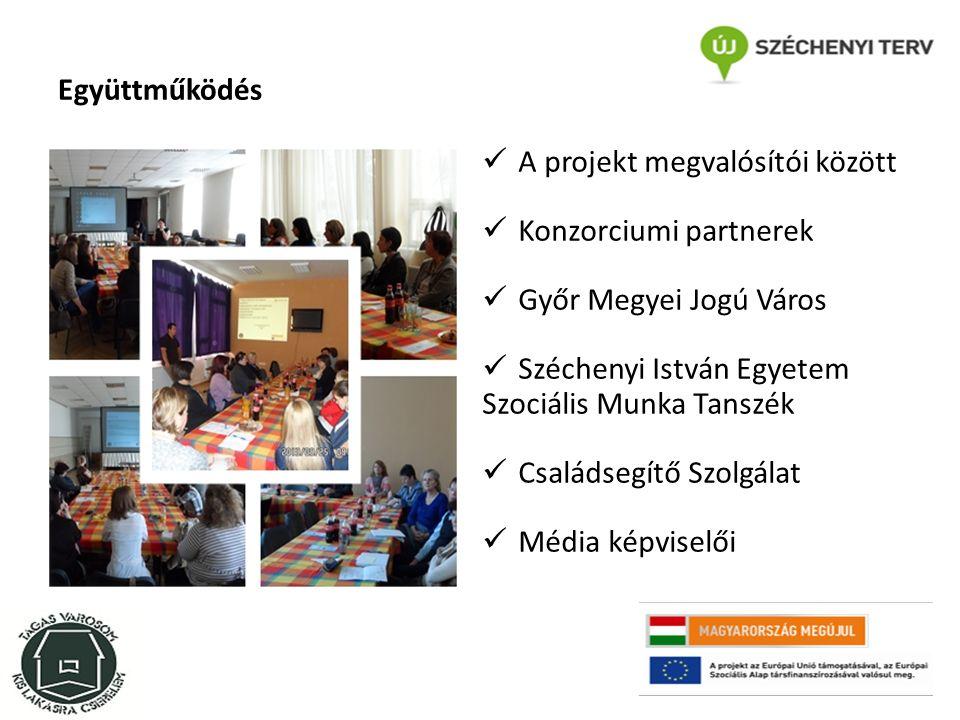 Együttműködés A projekt megvalósítói között Konzorciumi partnerek Győr Megyei Jogú Város Széchenyi István Egyetem Szociális Munka Tanszék Családsegítő Szolgálat Média képviselői