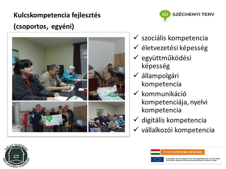 Kulcskompetencia fejlesztés (csoportos, egyéni) szociális kompetencia életvezetési képesség együttműködési képesség állampolgári kompetencia kommunikáció kompetenciája, nyelvi kompetencia digitális kompetencia vállalkozói kompetencia