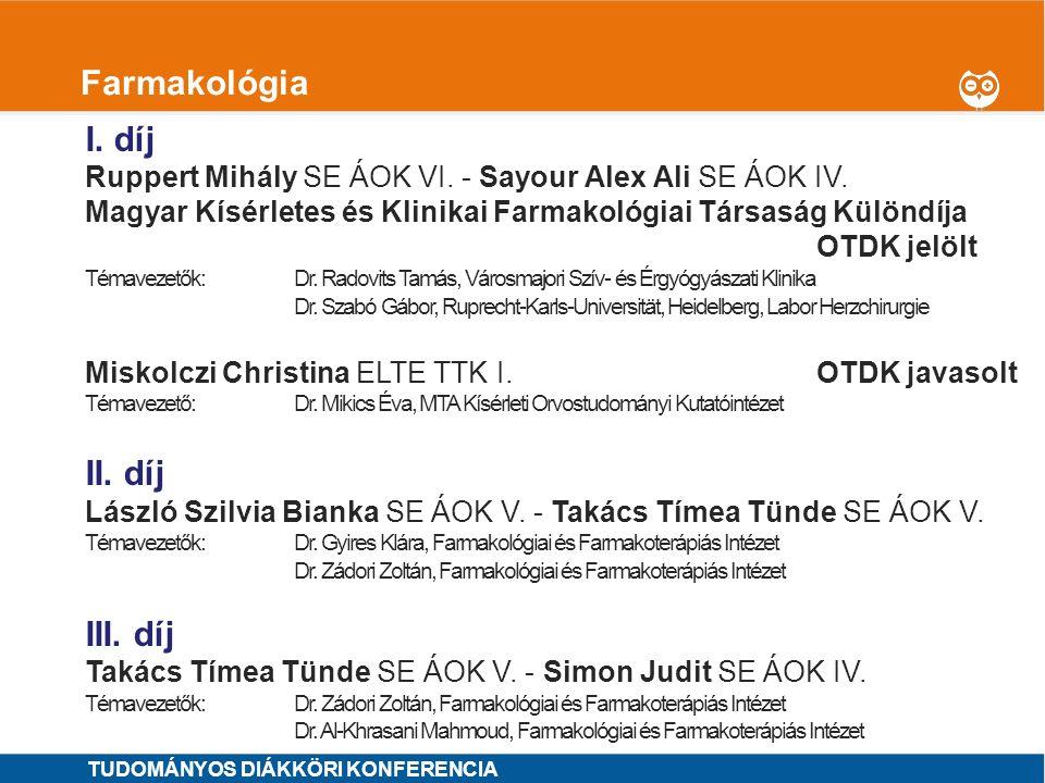 1 Fogorvostudományok I.I. díj MINTA ÁRON SE ÁOK VI.