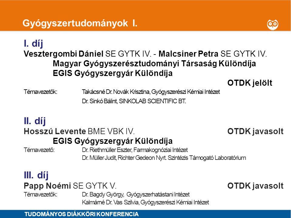 1 Gyógyszertudományok II.I. díj Szilvay András SE GYTK IV.OTDK jelölt Témavezetők: Dr.