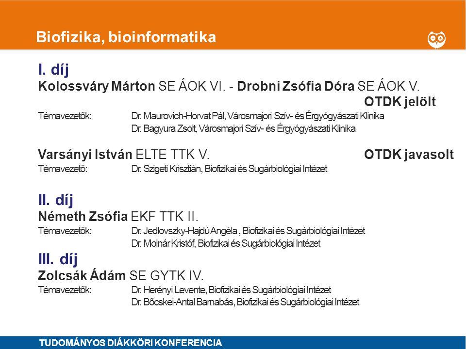 1 Biokémia, laboratóriumi diagnosztika I.díj MINTA ÁRON SE ÁOK VI.