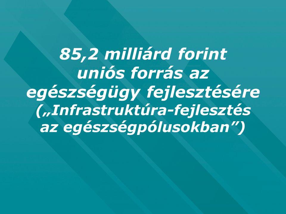 """85,2 milliárd forint uniós forrás az egészségügy fejlesztésére (""""Infrastruktúra-fejlesztés az egészségpólusokban"""")"""