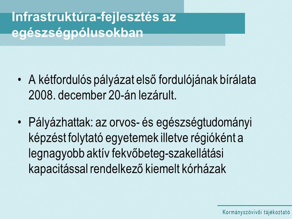 Infrastruktúra-fejlesztés az egészségpólusokban A kétfordulós pályázat első fordulójának bírálata 2008. december 20-án lezárult. Pályázhattak: az orvo